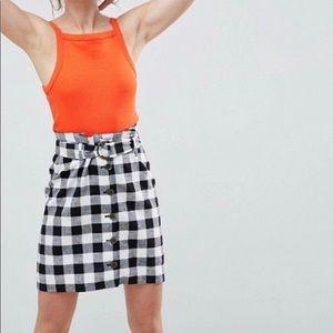 ASOS linen blend paper bag mini skirt